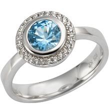 Celesta Silber Ring 925/- Sterling Silber Zirkonia & sy. Blautopas Silbergrau 14117 54 (17,2)