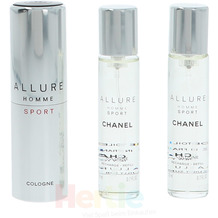 Chanel Allure Homme Sport Giftset Twist and Spray 3 x 20ml, Cologne Travel Spray and 2x Refills 60 ml