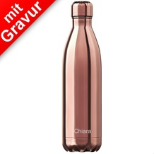Chillys Isolierflasche MIT GRAVUR (z.B. Namen) Chrome Roségold 750ml