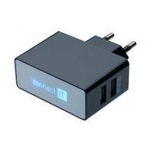 connect IT Ladegerät Dual USB Netzteil 2.1A/1A Schwarz