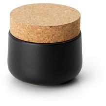 Continenta Keramikdose mit Korkdeckel 10,5x10cm, matt schwarz