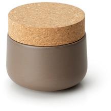 Continenta Keramikdose mit Korkdeckel 10,5x10cm, matt taupe