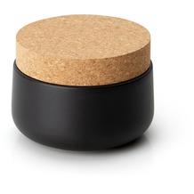 Continenta Keramikdose mit Korkdeckel 13x10cm, matt schwarz