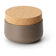 Continenta Keramikdose mit Korkdeckel 13x10cm, matt taupe