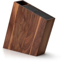Continenta Messerblock mit flex. Einsatz & Utensilienbehälter schräg , Walnuss 31 x 8 cm