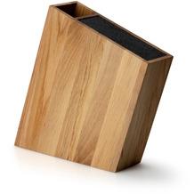 Continenta Messerblock mit flexiblem Einsatz und Utensilienbehälter schräg, Eiche 31 x 8 cm