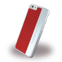 Corvette Silver Brushed Aluminium - Hard Cover für Apple iPhone 6/6S, rot