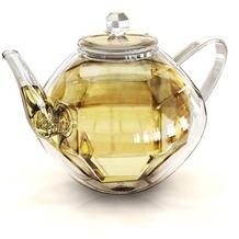 Creano Doppelwandige Glas-Teekanne Diamonddesign, isolierend, ein stilvolles Juwel in der Kanne!