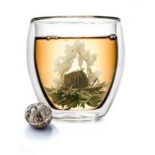 Creano doppelwandiges Thermoglas XXL 400ml, inkl. einer Teeblume, extra großes hitzebeständiges Kaffeeglas/Teeglas - ein tolles Geschenk