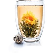 Creano doppelwandiges Thermoglas XXL 400ml hoch, inkl. einer Teeblume, extra großes hitzebeständiges Kaffeeglas/Teeglas - ein tolles Geschenk