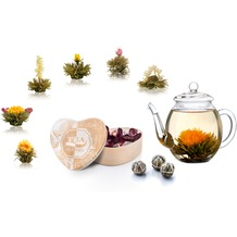 Creano Geschenkset aus 6er Set ErblühTee in Herz-Holzbox mit Gravur + 500ml Glas-Teekanne