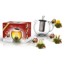 """Creano Geschenkset ErblühTeelini JUMBO """"Weißer Tee"""" - 3 Teeblumen Jumbo (3 Sorten), 1 Teekanne JUMBO mit 1,5l Fassungsvermögen"""