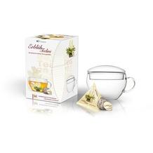 """Creano Geschenkset ErblühTeelini """"Weißer Tee"""" - 8 Teeblumen, fein aromatisiert (Vanille, Jasmin, Pfirsich, Zitrone), 1 Teelini GlasTeetasse mit Deckel; der erste ErblühTee in Tassenformat!"""