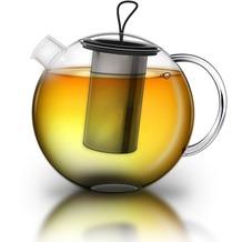 """Creano Glas Teekanne """"JUMBO"""" 2,0 Liter; 3-tlg. TeeKanne mit integriertem Edelstahlsieb und Glasdeckel - multifunktionale Design-Teekanne"""