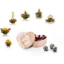 Creano Herz-Holzbox BLATT + 6er ErblühTee Weißtee