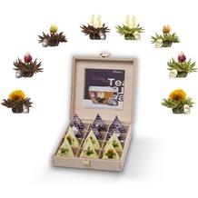 Creano Holzpräsentbox Teelini Weißtee & Schwarztee, 12 Teeblumen in 8 Variationen