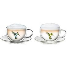Creano Thermo-Tasse Hummi doppelwandige Tee-/Latte Macchiato Tasse Kolibri, 2er Set, mit Untersetzer 250 ml in exklusiver Geschenkbox, blau/grün