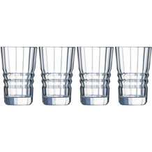 Cristal d'Arques Architecte, Longdrink-Gläser 4er Set aus hochwertigem Kristallglas, 4 Trinkgläser à 36 cl, Kwarxglas