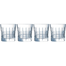 Cristal d'Arques Rendez-Vous, Whisky-Gläser 4er Set aus hochwertigem Kristallglas, 4 Tumbler à 32 cl, Kwarxglas