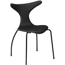 DAN-FORM Dolphin Stuhl Schwarz Leder, Schwarze Beine