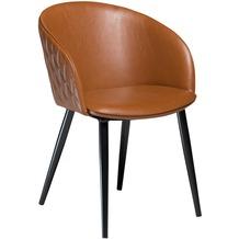 DAN-FORM Dual Stuhl Hellbraun Kunstleder, Schwarze Beine