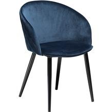 DAN-FORM Dual Stuhl Midnight Blau Velour, Schwarze Beine