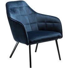 DAN-FORM Embrace Sessel Midnight Blau Velour, Schwarze Beine