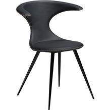 DAN-FORM Flair Stuhl Schwarz Leder, Runde Schwarze Beine