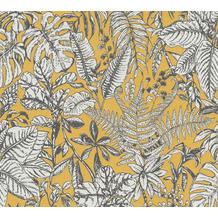 Daniel Hechter Vliestapete Dschungeltapete gelb weiß grau 375203 10,05 m x 0,53 m
