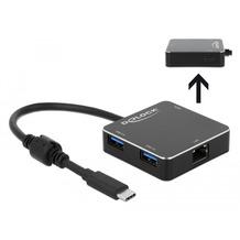 DeLock 3 Port USB 3.1 Gen 1 Hub mit USB Type-C™ Anschluss und Gigabit LAN