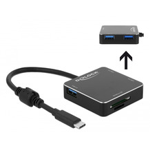 DeLock 3 Port USB 3.1 Gen 1 Hub mit USB Type-C Anschluss und SD + Micro SD Slot 3 USB Typ-A