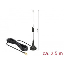 DeLock Antenne LTE SMA St. 2dBi starr omni. Anschlusskabel RG-174 2,5m outdoor