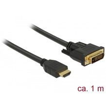 DeLock Kabel DVI 24+1 Stecker > HDMI-A Stecker 1,0 m