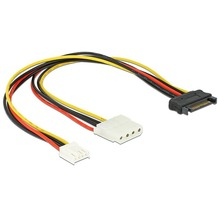 DeLock Kabel Power SATA 15pin ->5¼ Molex+Floppy