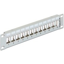 "DeLock Keystone 10"" Patchpanel 12 Port Metall grau"
