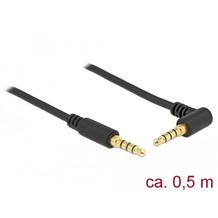 DeLock Klinkenkabel 3,5 mm 4 Pin Stecker > Stecker gewinkelt 0,5 m schwarz