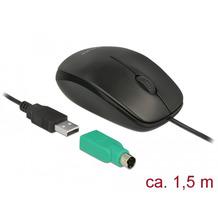 DeLock Maus USB-A + PS/2 Desktop optisch 3-Tasten schwarz