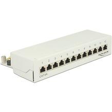 DeLock Netzwerk Patchpanel Desktop 12 Port Cat.6A grau