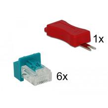 DeLock Netzwerk RJ45 Secure Clip Stecker Set 6 Stück