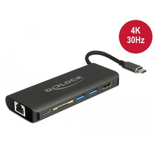 DeLock USB Type-C™ 3.1 Dockingstation HDMI 4K 30 Hz, Gigabit LAN u. USB PD Funkt