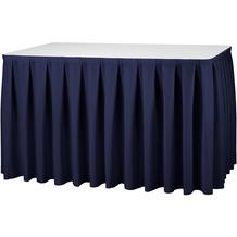 Dena Tischskirting boxpleat blau inklusive Skirtingbügel dunkel 410 x 73 cm
