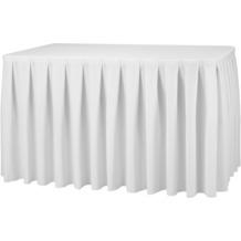 Dena Tischskirting boxpleat 410 x 73 cm, weiß inklusive Skirtingbügel
