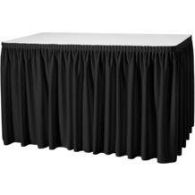 Dena Tischskirting Plissé 410 x 73 cm, schwarz inklusive Skirtingbügel