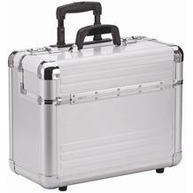 Dermata Aluminium Pilotenkoffer Trolley 46,5 cm Laptopfach silberfarben-matt