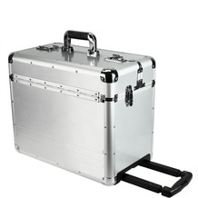 Dermata Aluminium Pilotenkoffer XL 47 cm Laptopfach silberfarben