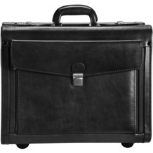 Dermata Pilotenkoffer Leder 45,5 cm Laptopfach schwarz