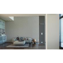 Designdschungel grafische Mustertapete grau metallic weiß 10,05 m x 0,53 m