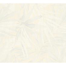 Designdschungel moderne Mustertapete mit Palmenprint beige grau weiß 10,05 m x 0,53 m