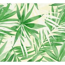 Designdschungel moderne Mustertapete mit Palmenprint beige grün 10,05 m x 0,53 m
