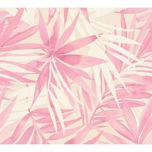 Designdschungel moderne Mustertapete mit Palmenprint beige rosa weiß 10,05 m x 0,53 m